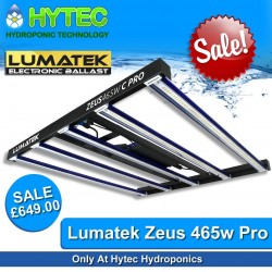LUMATEK ZEUS 465W COMPACT  PRO LED GROW LIGHT - ON SALE SAVE £50!!! Was £699 - Now Only £649  Only At Hytec Hydroponics!  Introducing Lumatek full-spectrum LED. The Zeus is a professional multi-LED-bar linear fixture ideal as sole-source lighting for indoor, grow tent and vertical farming with a uniform spread of light at a short distance and even heat dissipation.  The higher specification Lumatek Zeus 465W Pro Compact LED is a linear multi-light bar fixture producing very high PPF of 1256 µmol/s and a Photon Efficacy (fixture efficiency) of 2.7 µmol/J.  The array of LEDs create a uniform spread of light at short distance to the crop enabling single source grow lighting for multi-layer cultivation systems, single benches in low rooms and grow tents.  The Zeus is built using high quality Lumatek drivers and top bin LEDs from LUMLED and Osram generating a full-spectrum light source ideal for veg and flowering cycles.  For different cultivars, propagation and vegetative growth periods the Zeus may be dimmed without losing efficiency. The high efficiency and low powered LED configuration with five 93W LED bars reduces the temperature of the LEDs increasing the output and improving light maintenance.  The Zeus fixture can also be externally controlled with a Lumatek digital lighting controller featuring automated dimming, temperature safety control, Sunrise & Sunset Mode for up to 100 fixtures per controller.  Compared to regular open HPS/MH solutions the Zeus can achieve 30-40% less HVAC capacity.  ▪️Efficacy: 2.7 µmol/J ▪️PPF: 1256 µmol/s ▪️Input Voltage: 200-240V, 50-60Hz ▪️Power Consumption: 600W ▪️Footprint: 1.2x1.2m ▪️Waterproof: IP65 ▪️Lifetime: 60 000 hrs ▪️Light Distribution: 120° ▪️Light Source: Osram and ▪️Lumileds Diodes ▪️Dimmable: OFF-25%-50%-75%-100% with 0-10V Light Dimmer (Included) ▪️External Control: With Lumatek Digital Panel ▪️Weight: 11 Kg ▪️Dimensions: 998x900x74.2mm ▪️Spectrum: Full Spectrum +  #hytechydroponics #lumatek #sheffield #ukhydro #uk42