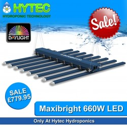 MAXIBRIGHT DAYLIGHT LED 660 WATT DIMMABLE GROW LIGHT - ON SALE - SAVE £69!!! - WAS £849 NOW ONLY £779.95  LOCKDOWN SPECIAL limited number available so be quick at this Unbeatable Price! @ HYTEC HYDROPONICS  Introducing the cutting edge of LED grow lighting, the future, from Maxibright - get more grams per Watt!  Features:  ▪️Light distribution optimized for 1.2m x 1.2m area. ▪️Total unit efficiency of 2.3 umols per watt ▪️8 LED bars for uniform light distribution. ▪️Light bars can slide horizontally to allow different spacing interval requirements. ▪️Light bars can be tilted through 30° to optimize light spread e.g. at the edge of growing area. ▪️Dimmable from 30% to 100% power. ▪️Optimized spectral output to provide the best light for plant growth, including UV and Far Red. ▪️Only quality Osram and Lumileds LEDs used. ▪️Passive heat dissipation design (No need for internal cooling fans). ▪️Energy Saving and environment-friendly. No harmful heavy metals used. ▪️High photoelectric conversion efficiency results in less energy resulting in heat and more energy resulting in usable growth light.  #hytechydroponics #maxibright #daylight #led #ledgrowlighting #sheffield #sale #hydroponics #uk420 #growlights #growyourown #ukhydrostore #chesterfield