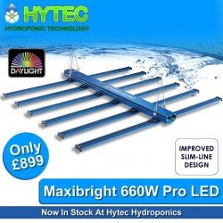 """ITS HERE - THE MAXIBRIGHT DAYLIGHT 660W LED PRO GROW LIGHT - IN STOCK NOW!  After the massive success of Maxibright's first 660watt """"Superb"""" LED Grow Light. Maxibright have now launched their new 660w Pro LED, sporting a new slim line design and a blistering output of 2.7 μmol/J.  Introducing the DAYLIGHT 660W LED PRO, Maxibrights new 'Flagship' high output LED lighting fixture. With a blisteringly high PPF of 1782 μmol/s and a fixture efficiency of 2.7 μmol/J. This unit pushes LED grow lighting to the next level. It's 6 bars of high-efficiency Osram and LUMLED LED chips cover a 1.5m x 1.5m area perfectly, with outstandingly uniform light coverage. In addition to its new lightweight and slimline design, the 660W PRO has new and improved clip on bars making one person assembly a breeze.  The 'fanless' design means the unit is silent and has no mechanical parts, hugely reducing the risk of failure. High-quality components and passive heat dissipation, teamed with the ability to dim this unit down to 25% power, means temperatures stay cool in your grow room regardless of the weather. Not only does the unit stay cool, but it now comes with IP65 ingress protection as standard, meaning the humidity from your grow poses no threat to the lifespan of your LED, which at 50,000 hours is an investment worth making, backed up by a three year warranty.  ▪️Total output: 1782 μmol/s Overall fixture efficiency: 2.7 μmol/J   ▪️LUMLED white (2.85 μmol/J) and Osram red (3.8 μmol/J) chips: The best of the best.   ▪️6 bar system – Gives highly uniform coverage (PPFD) across the canopy. Ideal over a 1.5m x 1.5m area.   ▪️Full spectrum: Full-bodied, enhanced red spectrum improves plant growth and flowers.   ▪️Silent running: No fans or moving parts.   ▪️Remote dimmer included: 25%-50%-75%-100% power  #maxigrow #maxibright #daylight #led #growlight #660w #hytechydroponics #sheffield #chesterfield #hydroponics #uk420 #growyourown #ukhydrostore #growlights #ledgrowlights  #ledlighting #maxile"""